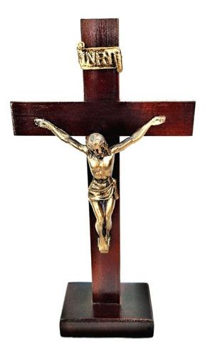 Cruz Crucifixo Mesa Em Madeira 24,5 Cm