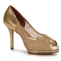 Peep Toe Salto Feminino Vizzano - Dourado(a)