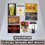Kit Com 20 Placas Decorativas Vintage Bebidas Retrô Frases
