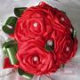 Buque De Noiva, Bouquet Rosas De Cetim Vermelho