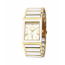 Relógio Technos Cerâmica Quadrado Dourado/branco - 2015cf/4b