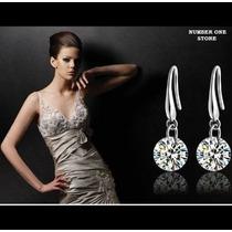 Brinco Prata 925 Feminino Diamante Cristal Swarovski 8mm