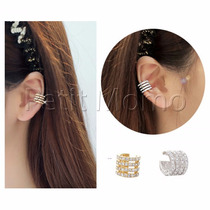 Ear Cuff Arco Triplo Strass - Dourado Ou Prata
