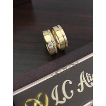 Par De Aliança Em Ouro 18k Noivado/casamento Modelo 1063
