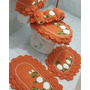 Jogo De Tapetes De Banheiro Em Crochê 4 Peças Rendado -b0333