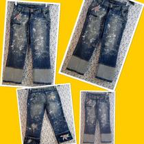 Calça Jeans 38 Cintura Baixa Lycra Customizada Lovely Lolla