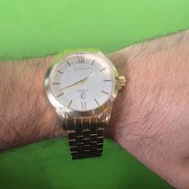 Relógio Technos Executive Com Data Folheado Ouro