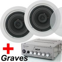 Amplificador Ab100r4 Nca + 2 Caixa De Som 120w Arandela Teto