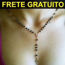 Terço Feminino Bolinha Preta Folheada Ouro Frete Grátis