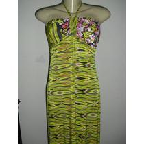 Vestido Longo Verão Com Estampa Floral E Geometrica ( P )