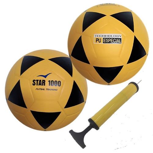 4bfff438f Bola Futsal Vitória Oficial Star 1000 Pu 2 Unidades + Bomba