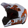 Capacete Motocross Th1 Jett Veneno Branco / Laranja - 58
