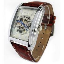 Relógio Pulso Masculino Quadrado Automático Goer Couro