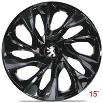 Calota Jogo Aro 15 Black Ds4 Peugeot 206 207 Hoggar -4 Peças