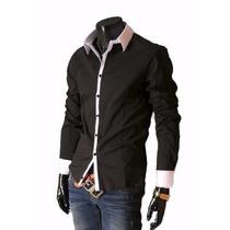 Camisa Casual Masculina Luxo Slim Fit Social Pronta Entrega