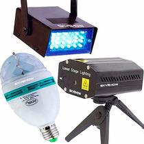 Kit Festa Iluminação - Strobo Laser Bola Maluca - Skyshow