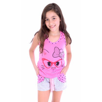 Pijama Infantil Feminino Short E Camisa Curto Viscose