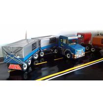 Caminhão De Madeira Carreta Baú Bi Trem + 02 Brinde