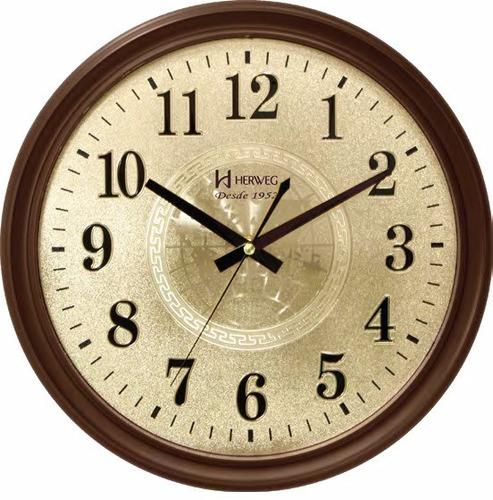 54401fd1e46 6468 084 Relógio Parede Marrom Retrô 35 Cm Silencioso Herweg. R  144.85