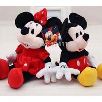 Bonecos Pelúcia Disney Mickey E Minnie 30cm Kit 2 - Original