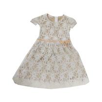 Vestido Infantil De Renda Com Forro Dourado Tamanho 3
