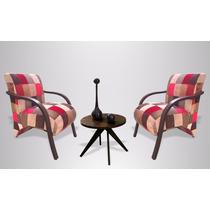 Kit Com 02 Cadeiras Patchwork E Mesinha De Centro/lateral