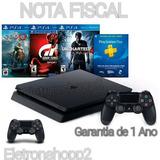 Ps4 Slim Sony 1tb 3 Jogos Bundle + Nota Fiscal + 2 Controles