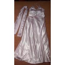 Vestido Longo De Festa Rosa Claro Com Echarpe T: M/g (44)