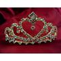 Coroa Com Coração De Strass Cor Ouro Grinalda Noiva Luxo