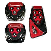 Pedaleiras Esportivas Automotiva Vermelha Tuning Kit 3 Peças