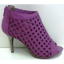 Open Boots Feminina Salto Plataforma Meia Pata Couro Ramarim