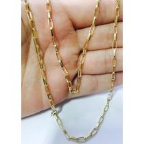 Corrente Cordão Cartier Oca Alongada 60cm Masculino Ouro 18k