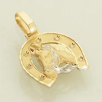 Pingente Cavalo E Ferradura De Ouro 18k Dois Tons Feminino
