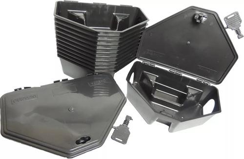 Porta Iscas Raticida Para Ratos Com Chave Kit 10 Unidades