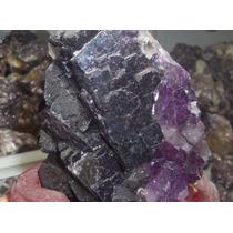 Colorful * Fluorita Mineral C/ Base De Madeira Frete Gratis