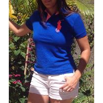 Blusa Camisa Polo Feminina Rauph Lauren Malha Piquet