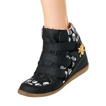 Sneaker,tenis,sapato,feminino,salto Embutido Caveiras-barato