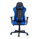 Cadeira De Escritório Pelegrin 3012 Gamer Ergonômica Preta E Azul Con Estofado Do Couro Sintético