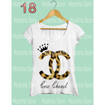 Camiseta T-shirt Feminina Coco Chanel Coroa Marca Oncinha