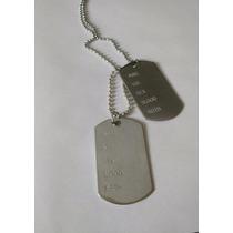 Kit(5)-colar Militar Exército Corrente C/placa 2 Dogtag Inox