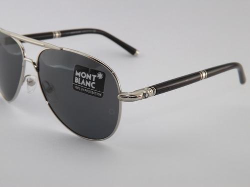 Óculos De Sol Mont Blanc 519s Prata Com Preto bf95a58a00