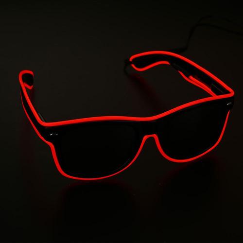 Óculos Neon Led Lente Escura Fumê Rave Tomorrowland A Pilha