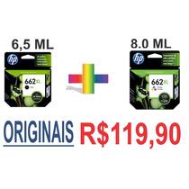 Kit Cartuchos Hp 662xl+662xl Color Originais Na Cx R$119,90!