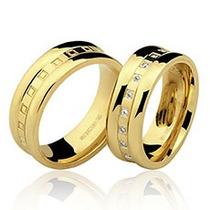 Par Alianças 20 Grs Ouro18k/ 750 Diamantes Frete Nota Fiscal