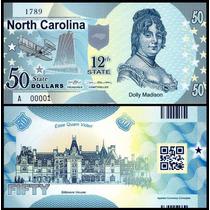 Usa Estados Unidos North Carolina 50 Dollars Polímero * Q J