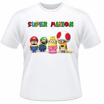 Camiseta Infantil Minions Super Mario Camisa
