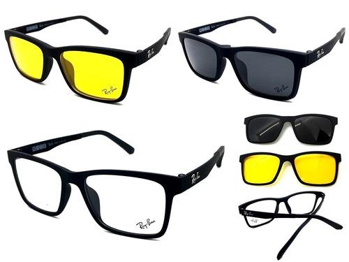 Armação Oculos Grau Sol Masculino Rb2088 2 Clip On Brinde e94b58b713