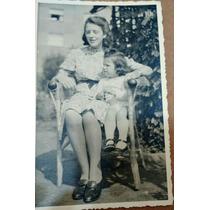 Foto Postal Antiga ( Mãe E Menina)