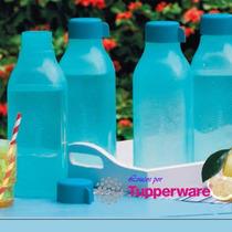 Tupperware Ecotupper Garrafa Quadrada 1000ml- Azul Ou Verde