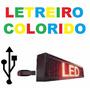 Painel Led Letreiro Digital Usb 100x20cm Colorido
